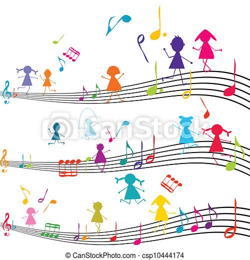 Una nota de música con chicos tocando con las notas musicales - csp10444174