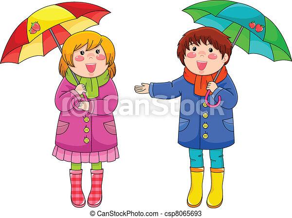 Ni os paraguas posici n poco ni os dos su paraguas feliz - Bambini che si guardano allo specchio ...