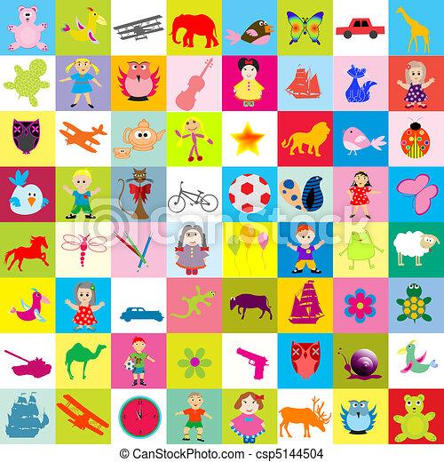 niños, plano de fondo, juguetes - csp5144504