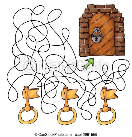Niños puerta juego elegir llave clipart vectorial csp jpg 450x470 Juego  dibujo llave 9b1d6cf8a25