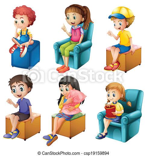 niños, sentado - csp19159894