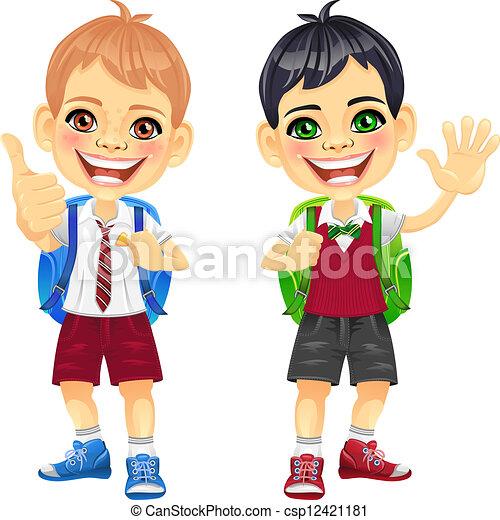 b2c11183090 Niños, sonriente, vector, feliz, alumnos. Marrón, escuela, morena ...