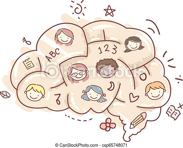 El laberinto de cerebros de los Stickman enfrenta ilustraciones - csp65748071