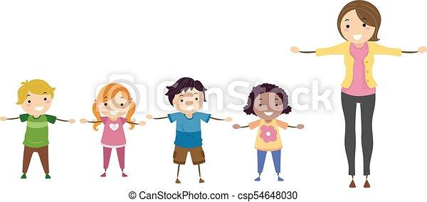 Los chicos de Stickman enseñan ilustraciones de brazos laterales - csp54648030