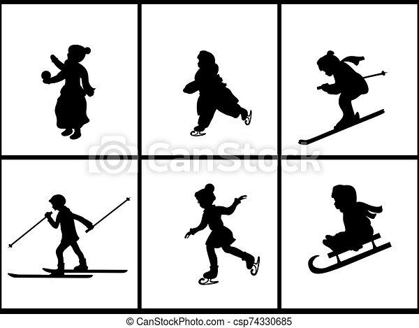 niños, vacaciones, conjunto, siluetas, invierno - csp74330685