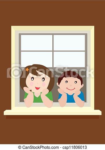 Niños en la ventana - csp11806013