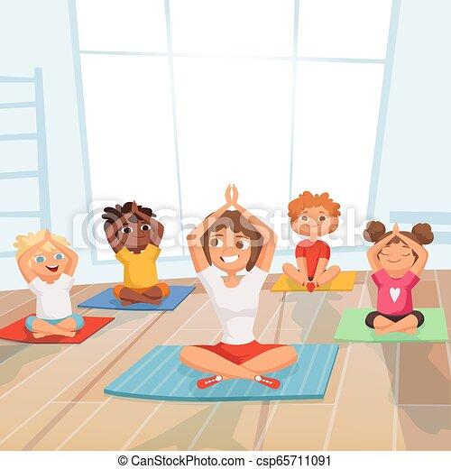 Grupo De Chicos Yoga Ninos Haciendo Ejercicios Con El Instructor En Los Dibujos Animados Del Vector Del Gimnasio