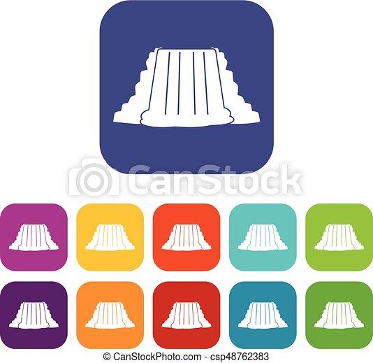 niagara falls icons set flat niagara falls icons set vector rh canstockphoto com
