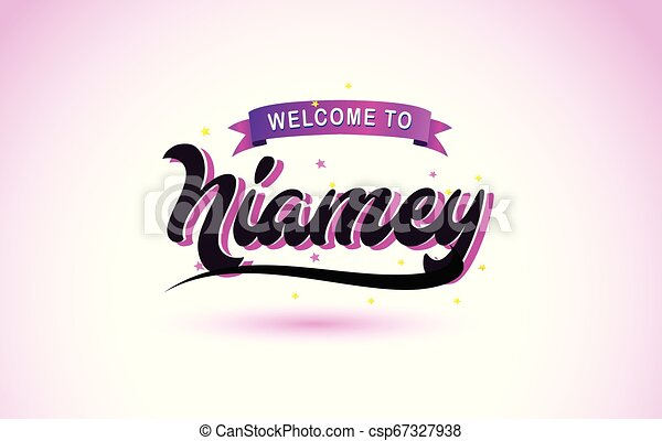 Niamey Welcome to Creative Text Handwritten Font with Purple Pink Colors Design. - csp67327938