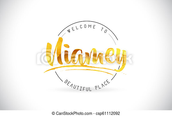 Niamey Welcome To Word Text with Handwritten Font and Golden Texture Design. - csp61112092