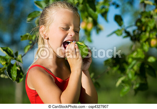 Nibble of a sweet apple - csp4327907