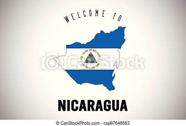 Nicaragua Welcome to Text and Country flag inside Country border Map Vector Design. - csp67648563