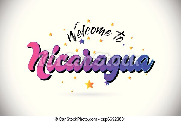 Nicaragua Welcome To Word Text with Purple Pink Handwritten Font and Yellow Stars Shape Design Vector. - csp66323881