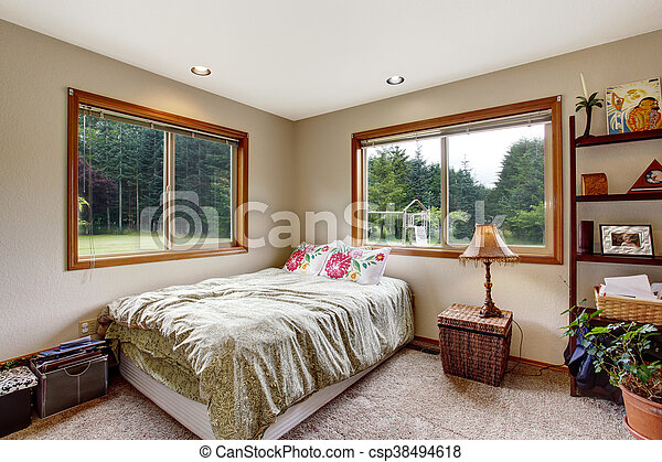 Nice Bedroom Interior With Carpet Floor And Two Windows. Small Bed With  Floral Pillows.