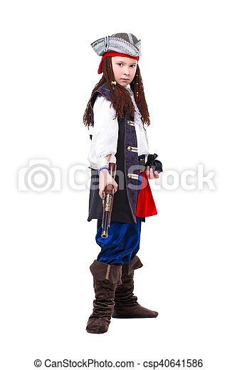Nice boy dressed as pirate - csp40641586