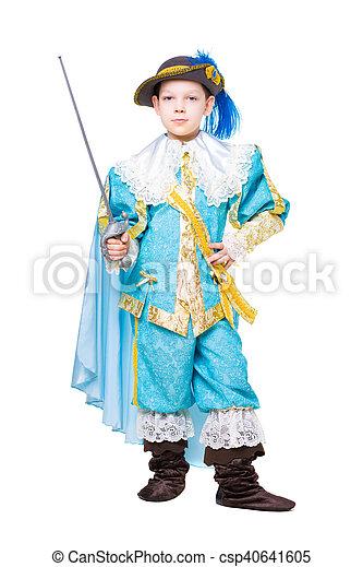 Nice boy posing in musketeer costume - csp40641605