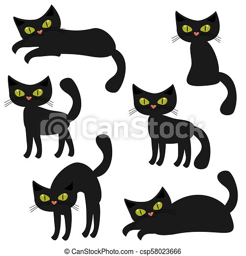 nice cats on white background - csp58023666