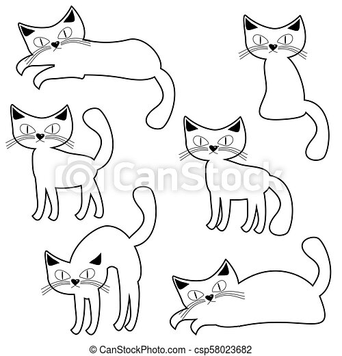 nice cats on white background - csp58023682