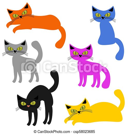 nice cats on white background - csp58023685