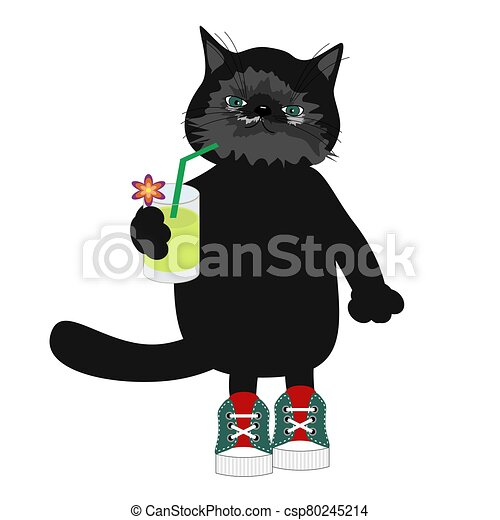 nice cats on white background - csp80245214