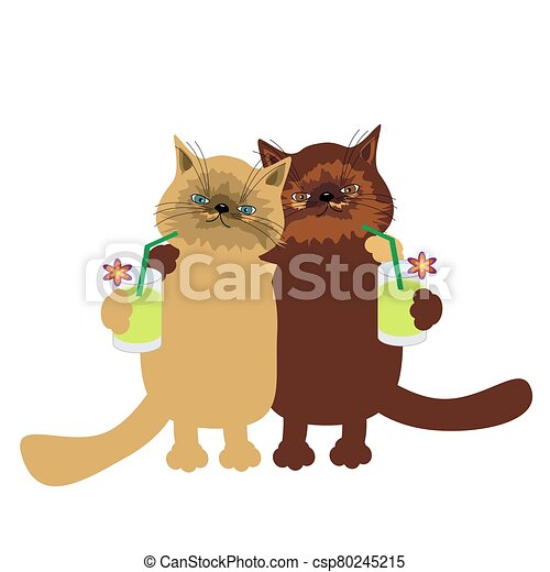 nice cats on white background - csp80245215