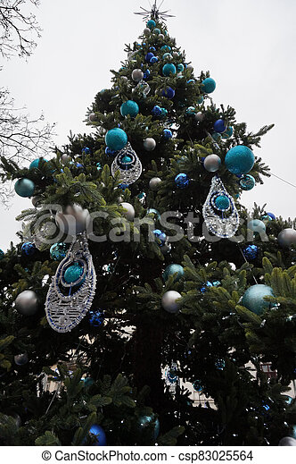 nice christmas tree isolated - csp83025564