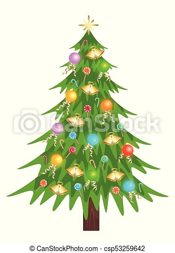 Christmas Tree Illustration.Nice Christmas Tree With Star Lamp And Candy