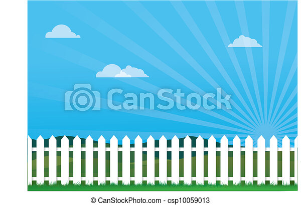Nice Day With Picket Fence - csp10059013