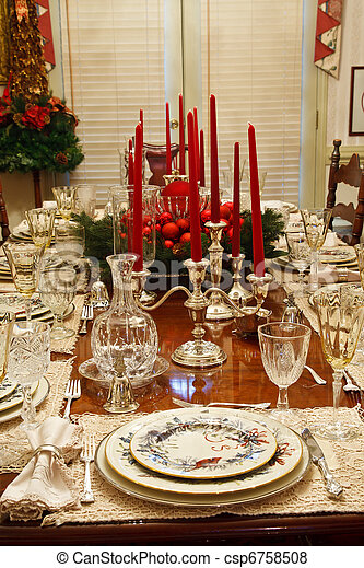 Nice dining room table set for christmas. A dining room table set ...