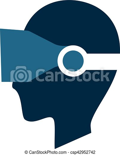 nice face with vr glasses icon - csp42952742