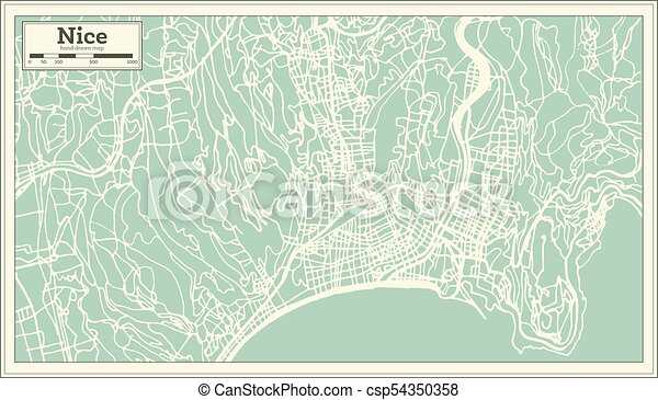 Nice France City Map In Retro Style Outline Map Vector Illustration