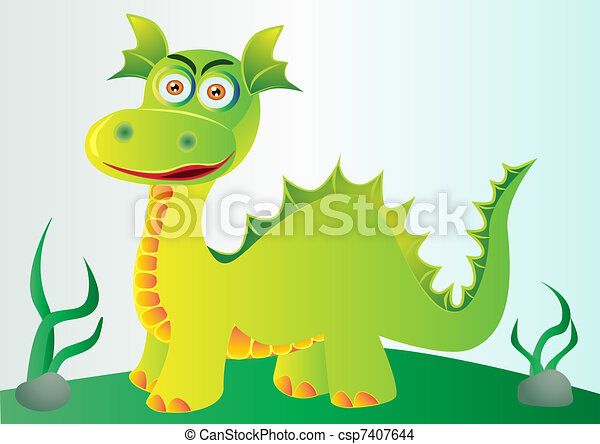 nice green dragon on hillock with herb - csp7407644