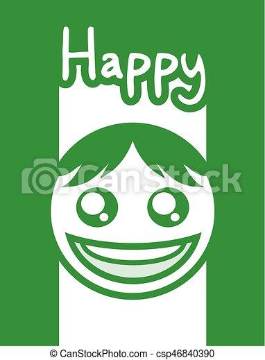 nice green happy face design - csp46840390