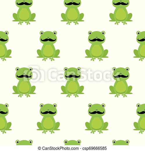 Nice happy cartoon seamless vector pattern with frogs with mustache - csp69666585