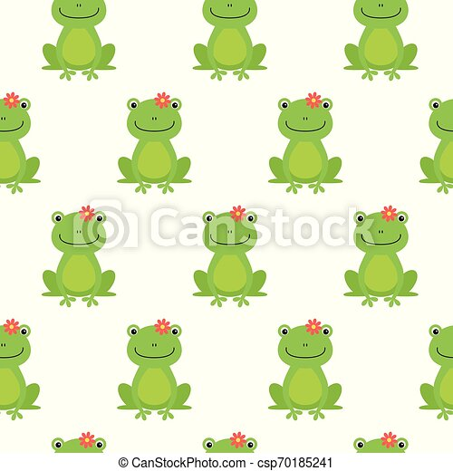 Nice happy cartoon seamless vector pattern with frogs and flowers - csp70185241