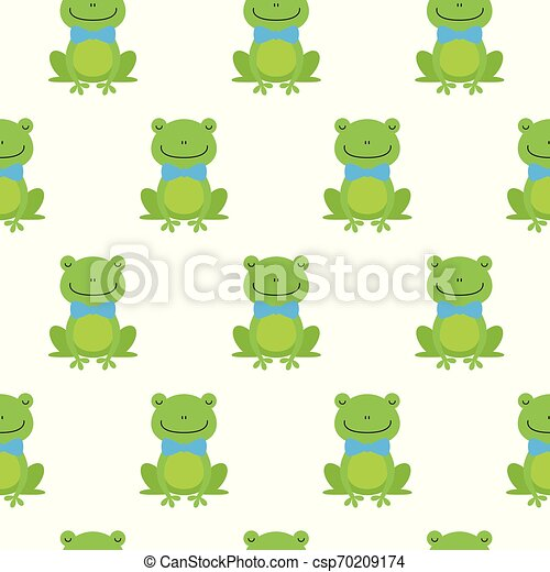 Nice happy cartoon seamless vector pattern with frogs With Bow Tie - csp70209174