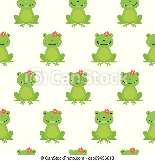 Nice happy cartoon seamless vector pattern with frogs and flowers - csp69436613