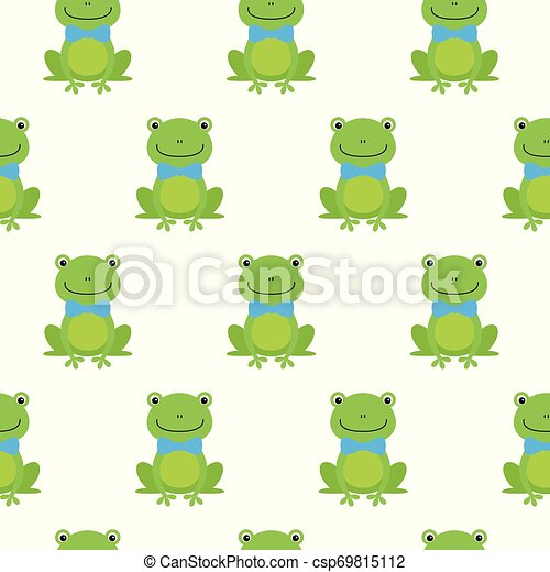 Nice happy cartoon seamless vector pattern with frogs With Bow Tie - csp69815112