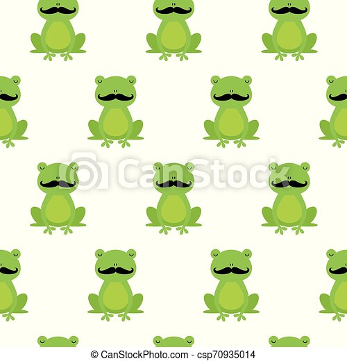 Nice happy cartoon seamless vector pattern with frogs with mustache - csp70935014