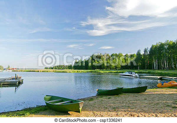 Nice lake landscape with vivid sky in summer - csp1336241