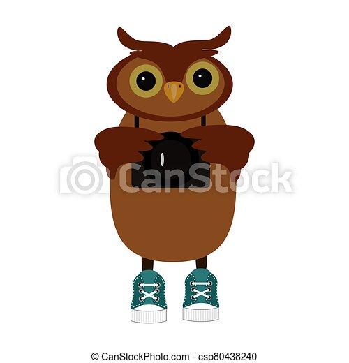 nice owl on white background - csp80438240