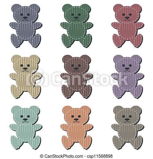 nice scrapbook teddy bears on white - csp11568898
