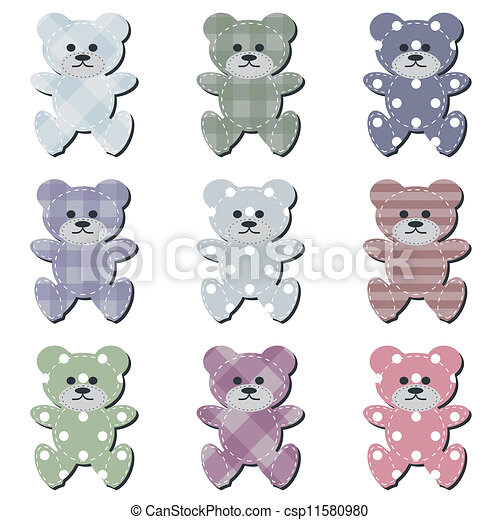 nice scrapbook teddy bears on white - csp11580980