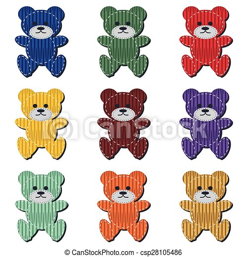nice scrapbook teddy bears on white - csp28105486