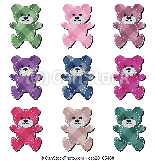nice scrapbook teddy bears on white - csp28105488