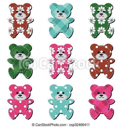 nice scrapbook teddy bears on white - csp32466411