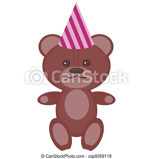 nice teddy bear in party cap - csp9359118