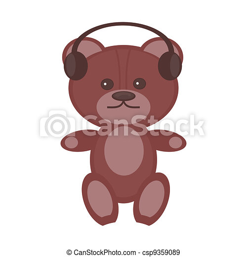 nice teddy bear with headphones - csp9359089
