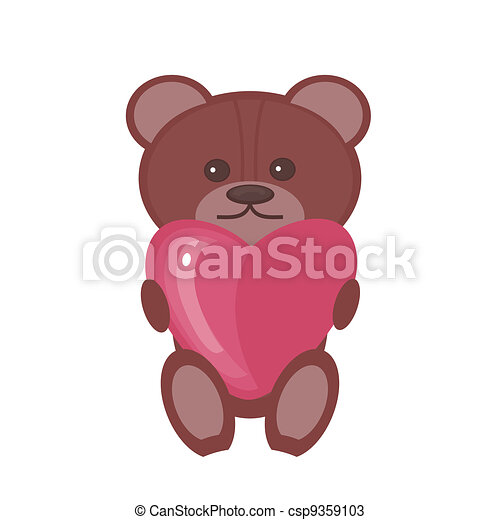 nice teddy bear with heart - csp9359103