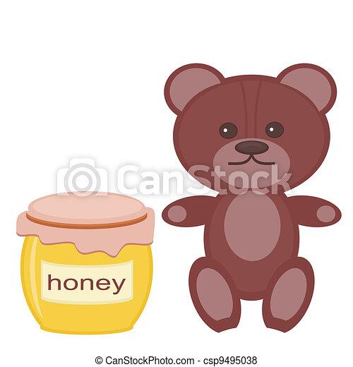 nice teddy bear with honey on white - csp9495038
